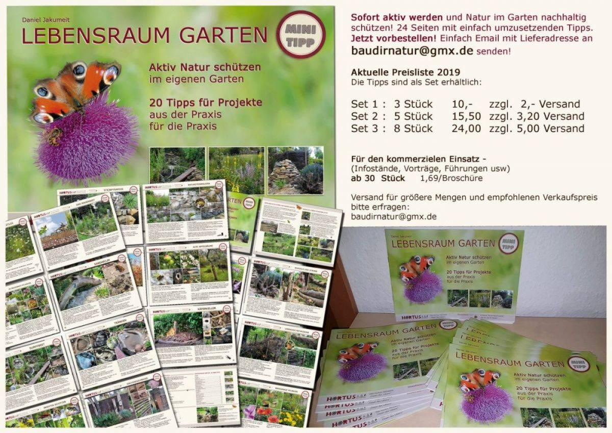 Druckbroschüre Lebensraum Garten Hortus Netzwerk